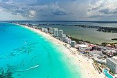 Aerial view Of Cancún beach and lake in the hotel zone in Mexico