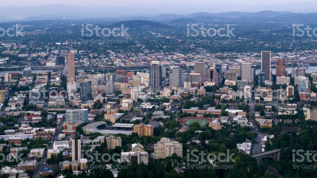 Aerial city of Portland on both sides of Willamette River stock photo
