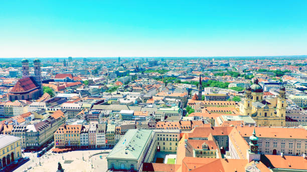 aerial city view of the bavarian capital Munich, Germany stock photo