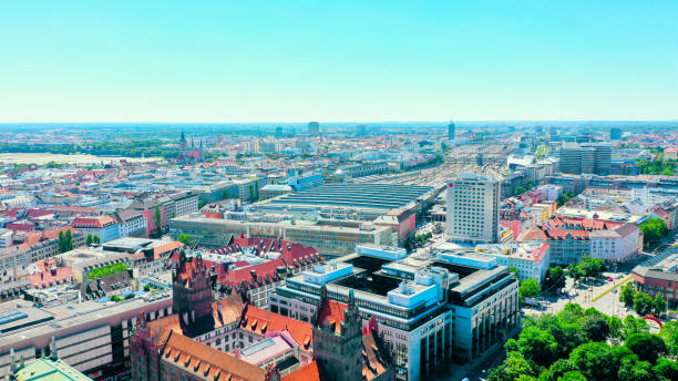 aerial city view of the main train station in Munich, Bavaria, Germany stock photo