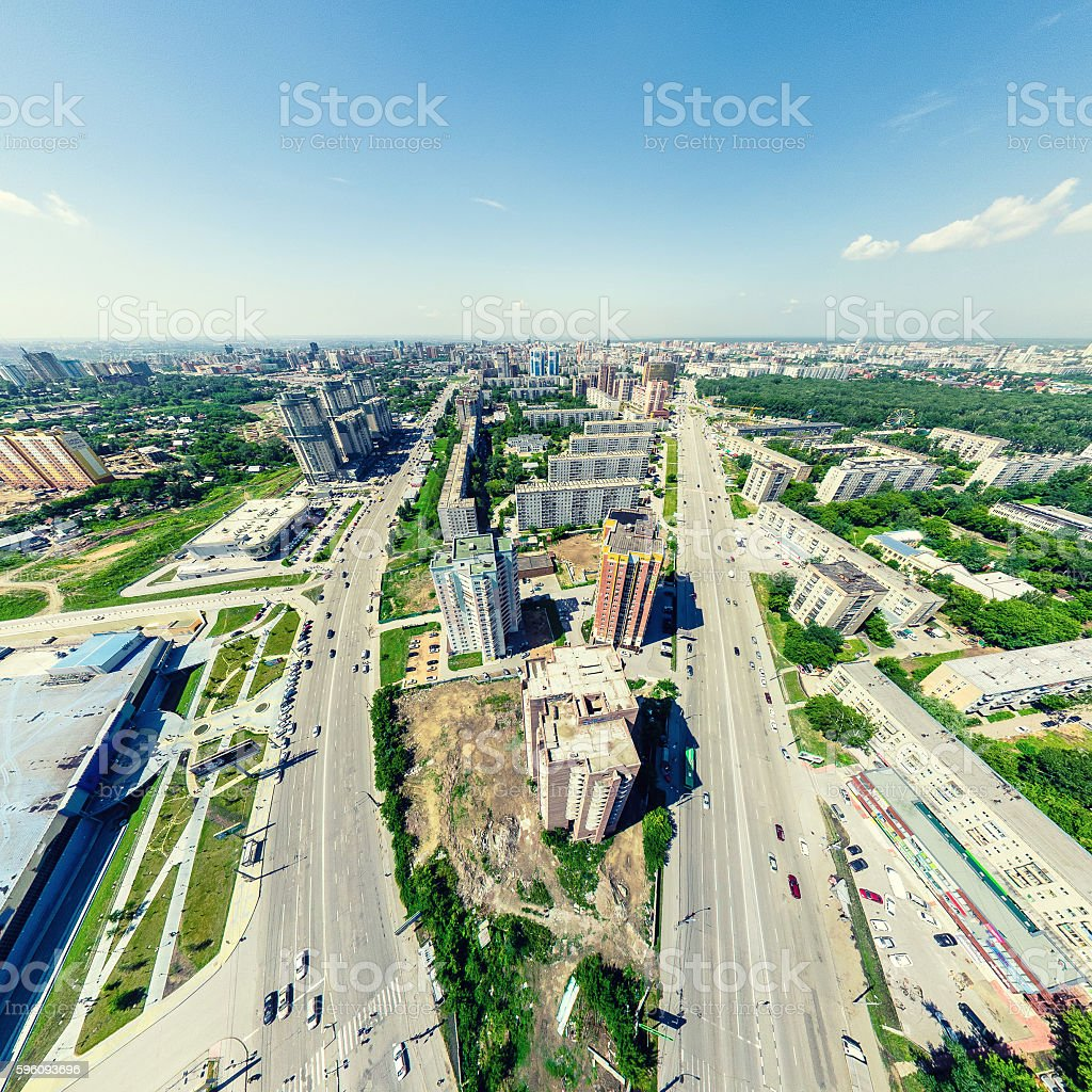 Aerial city view. Urban landscape. Copter shot. Panoramic image. royalty-free stock photo