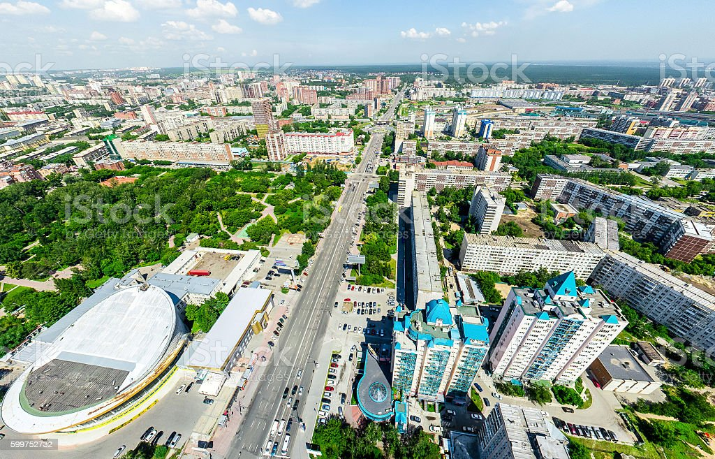 Aerial city view. Urban landscape. Copter shot. Panoramic image. stock photo
