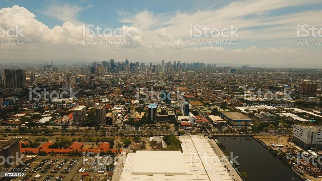 Aerial city with skyscrapers and buildings. Philippines, Manila, Makati stock photo