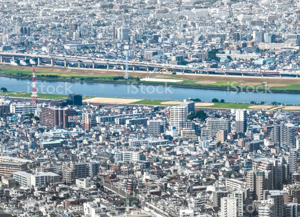 Aerial Cityscape  Arakawa River -Downtown Tokyo , Japan royalty-free stock photo