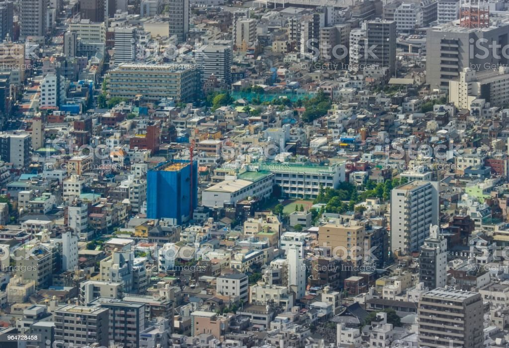 Aerial Cityscape Downtown Tokyo , Japan royalty-free stock photo