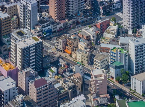 Aerial Cityscape Downtown Tokyo Japan Stock Photo - Download Image Now