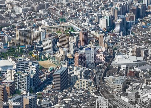 Aerial Cityscape Downtown Tokyo Japan Stock Photo & More Pictures of Aerial View