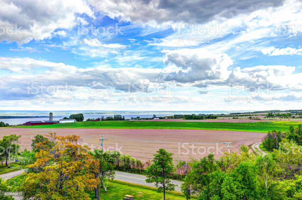 Aerial cityscape landscape view of farmland in Ile D'Orleans, Quebec, Canada stock photo