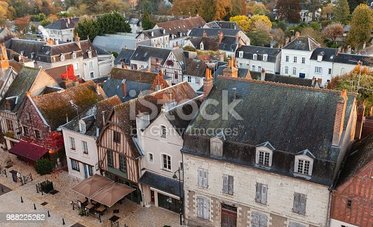 istock Aerial cityscape of Amboise, France 988225262