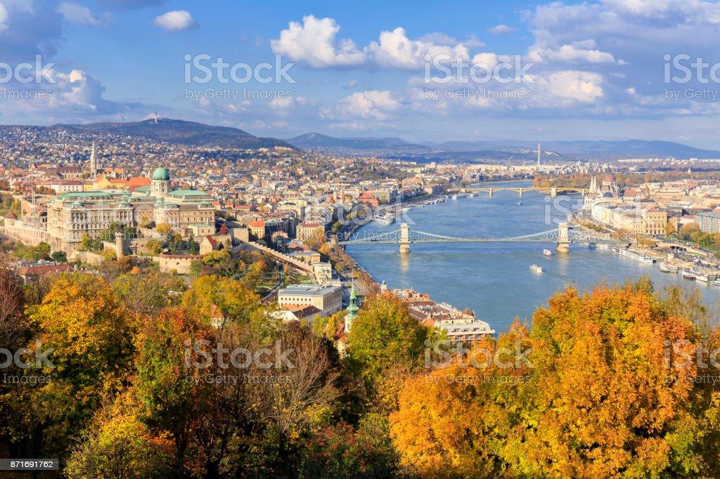 Aerial cityscape of Budapest in the autumn season stock photo