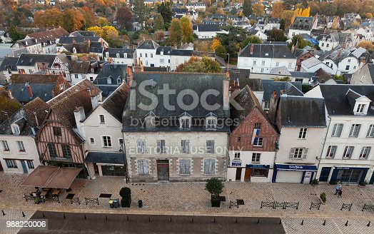 istock Aerial cityscape of French town Amboise 988220006