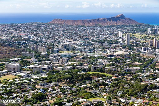 istock Aerial cityscape of Honolulu, Oahu, USA 907853012