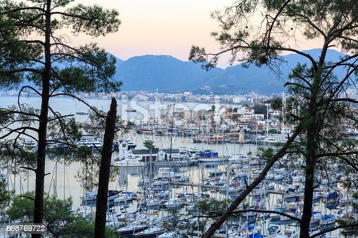 istock Aerial cityscape of Marmaris with pine trees 868769722