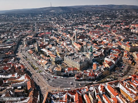 Aerial panorama of Sopron city center, Hungary