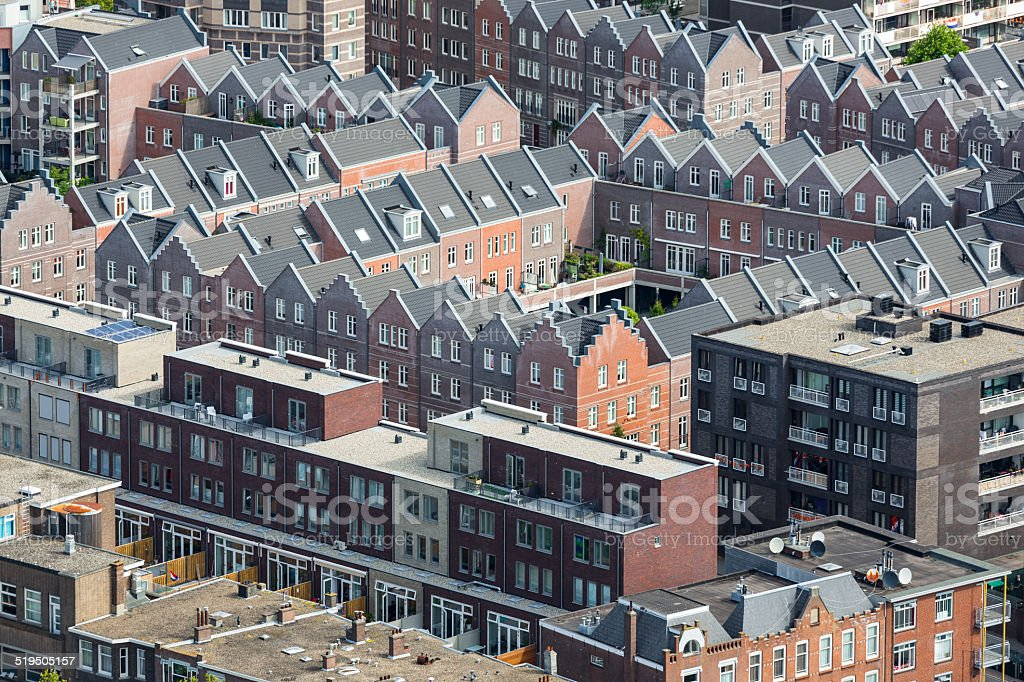 Aerial cityscape residential area of The Hague, The Netherlands stock photo
