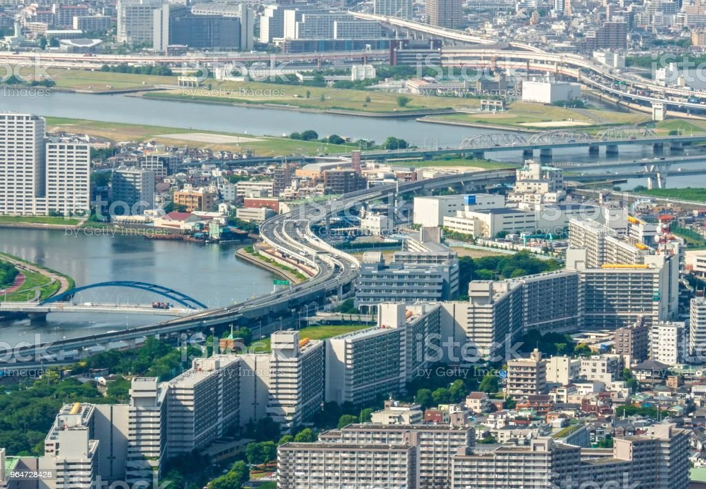 Aerial Cityscape Sumida River - Downtown Tokyo , Japan royalty-free stock photo