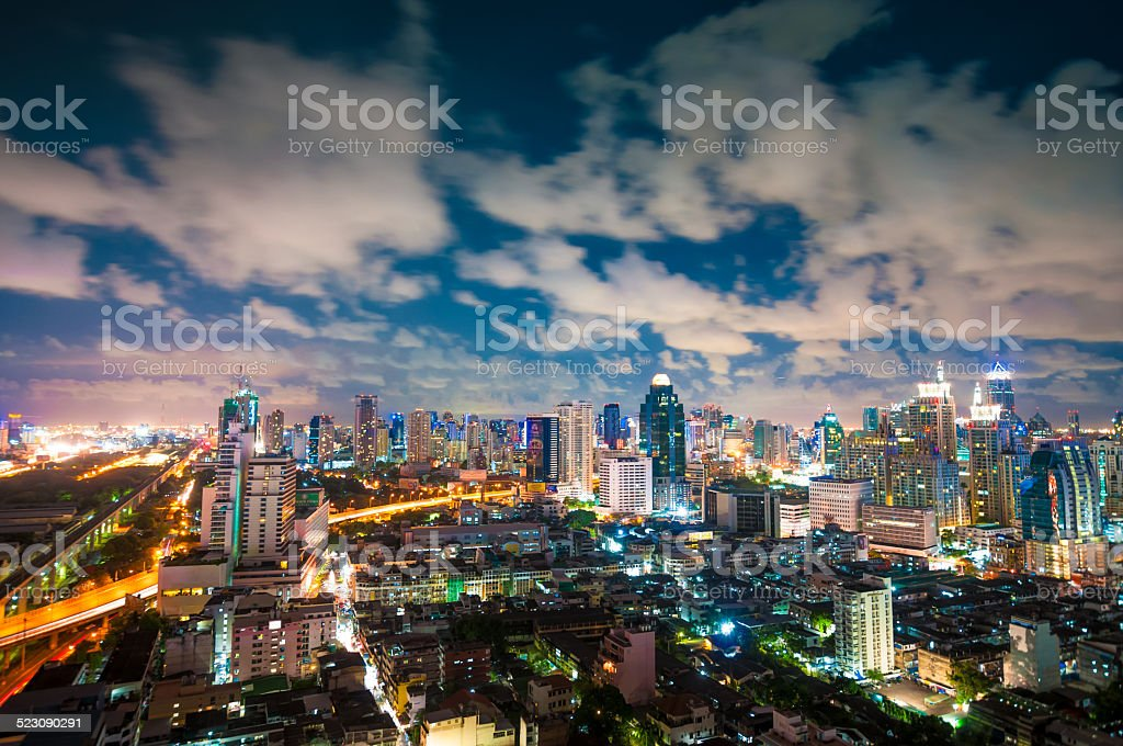 Aerial cityscape view in Asia stock photo