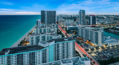 istock Aerial cityscape view of Hollywood Florida at dusk. 1303481095