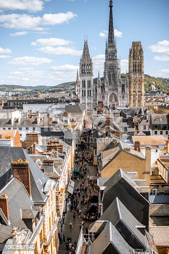 istock Aerial cityscape view of Rouen, France 1062587040