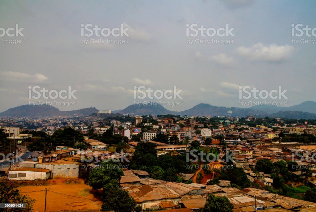 Aerial cityscape view to Yaounde capital of Cameroon royalty-free stock photo