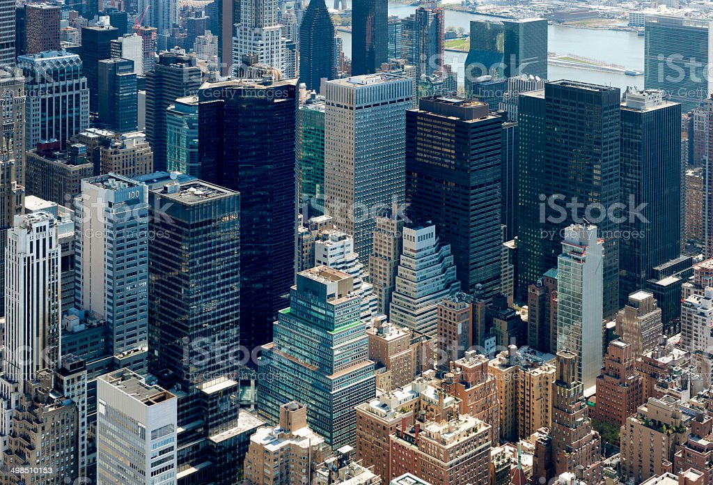 Aerial close up of New York Skyline in the morning stock photo