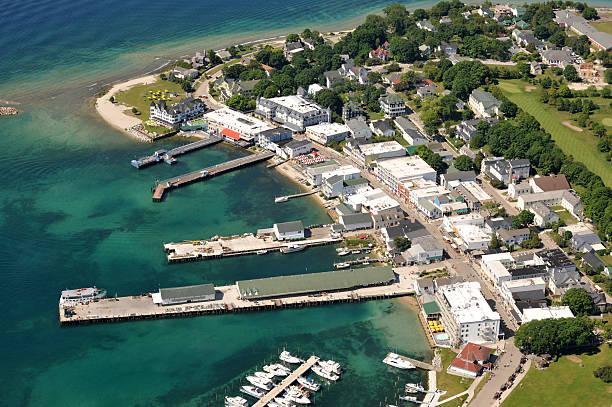 aerial closeup of mackinac island, michigan, usa - mackinac island stock photos and pictures