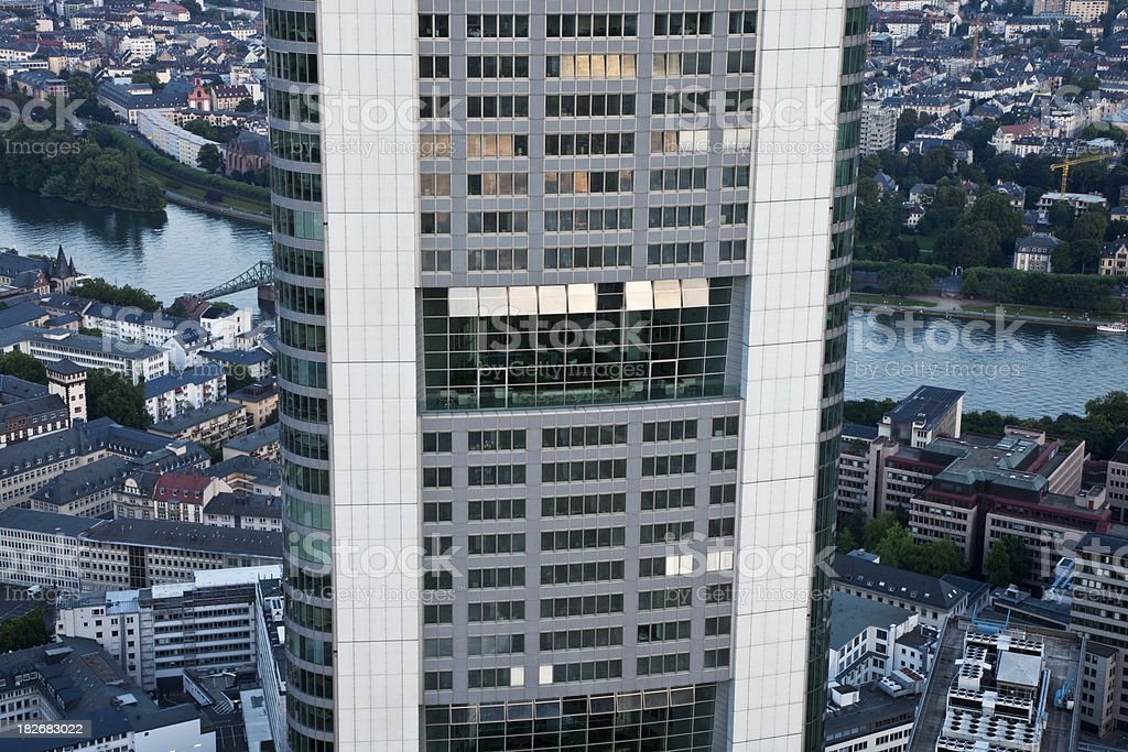 Aerial Close-Up of Skyscraper, Commerzbank, Frankfurt, Germany royalty-free stock photo