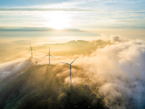 Aerial cloud sea and wind power stock photo