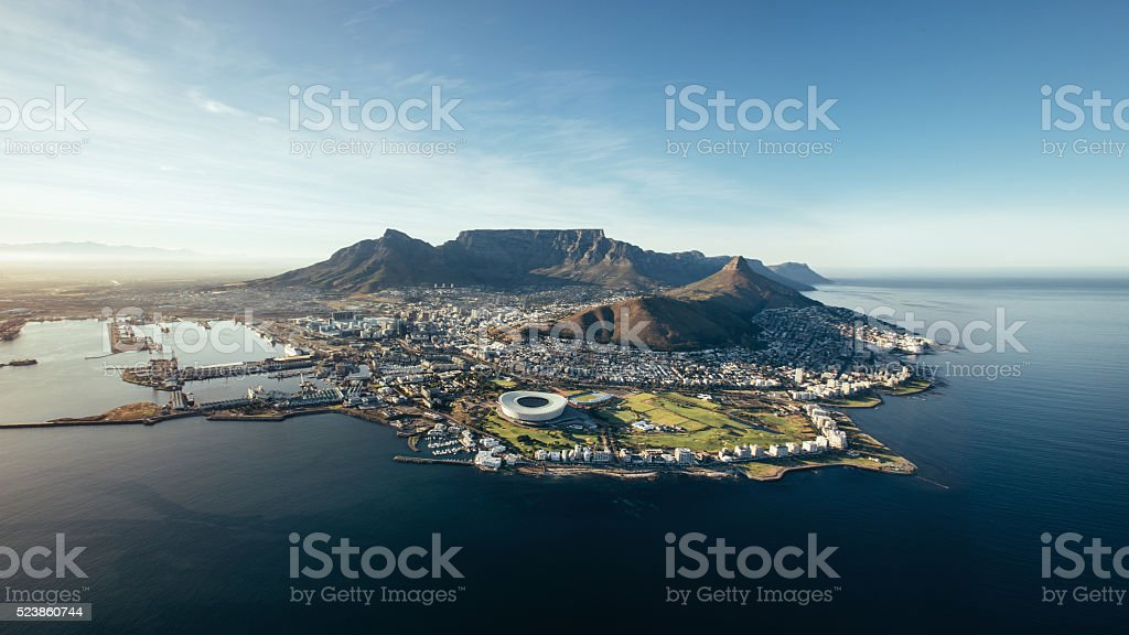 Aerial coastal view of Cape Town, South Africa stock photo