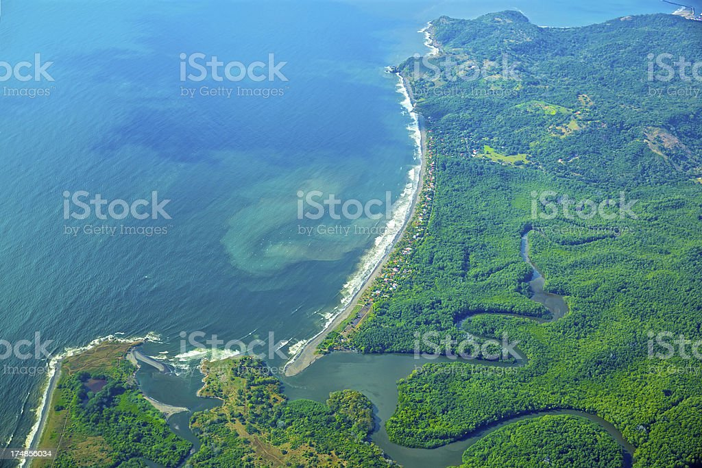 Aerial: Coastline of Costa Rica stock photo