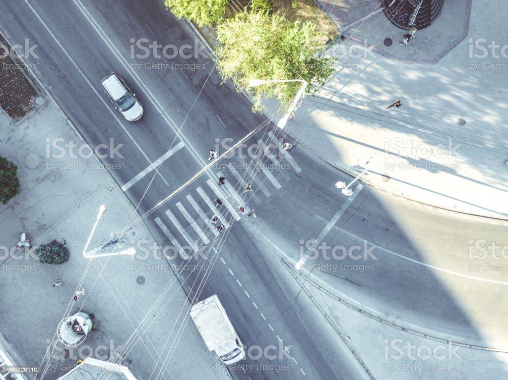 Tableau de concordance aérienne dans le haut de la ville vers le bas de la vue - Photo