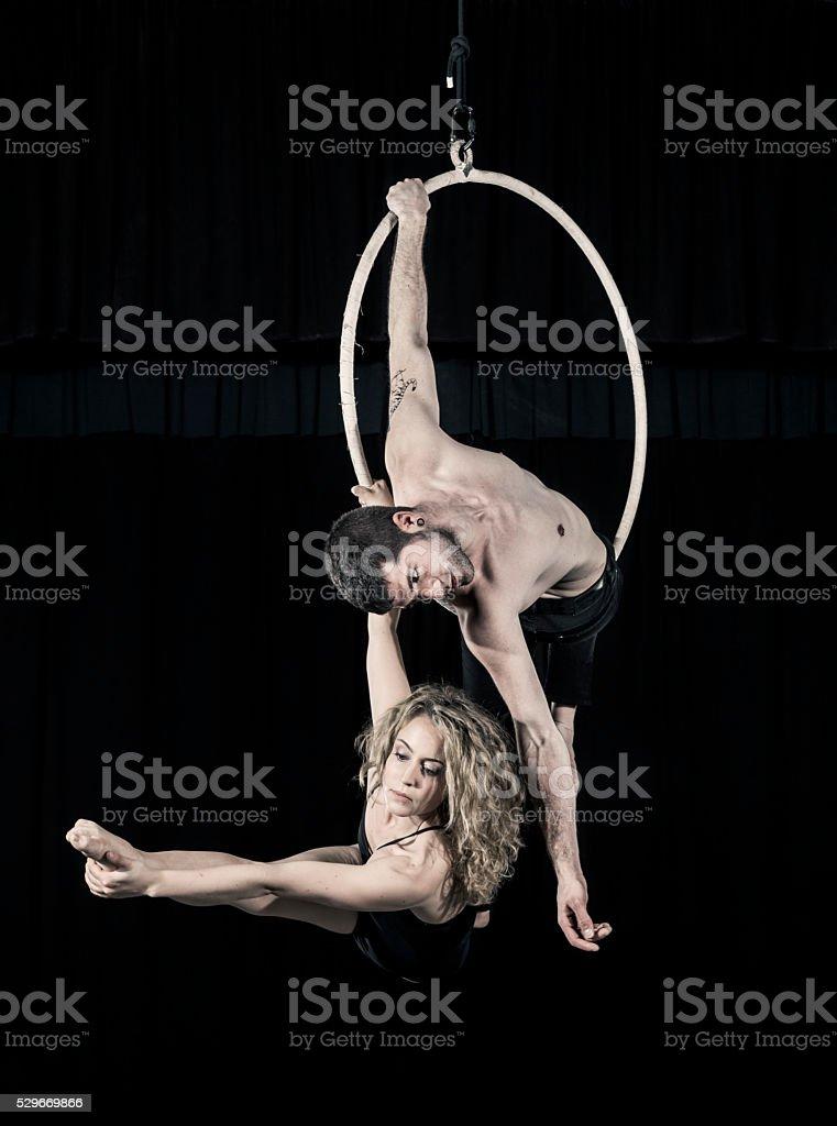 Aerial dancer couple performance stock photo