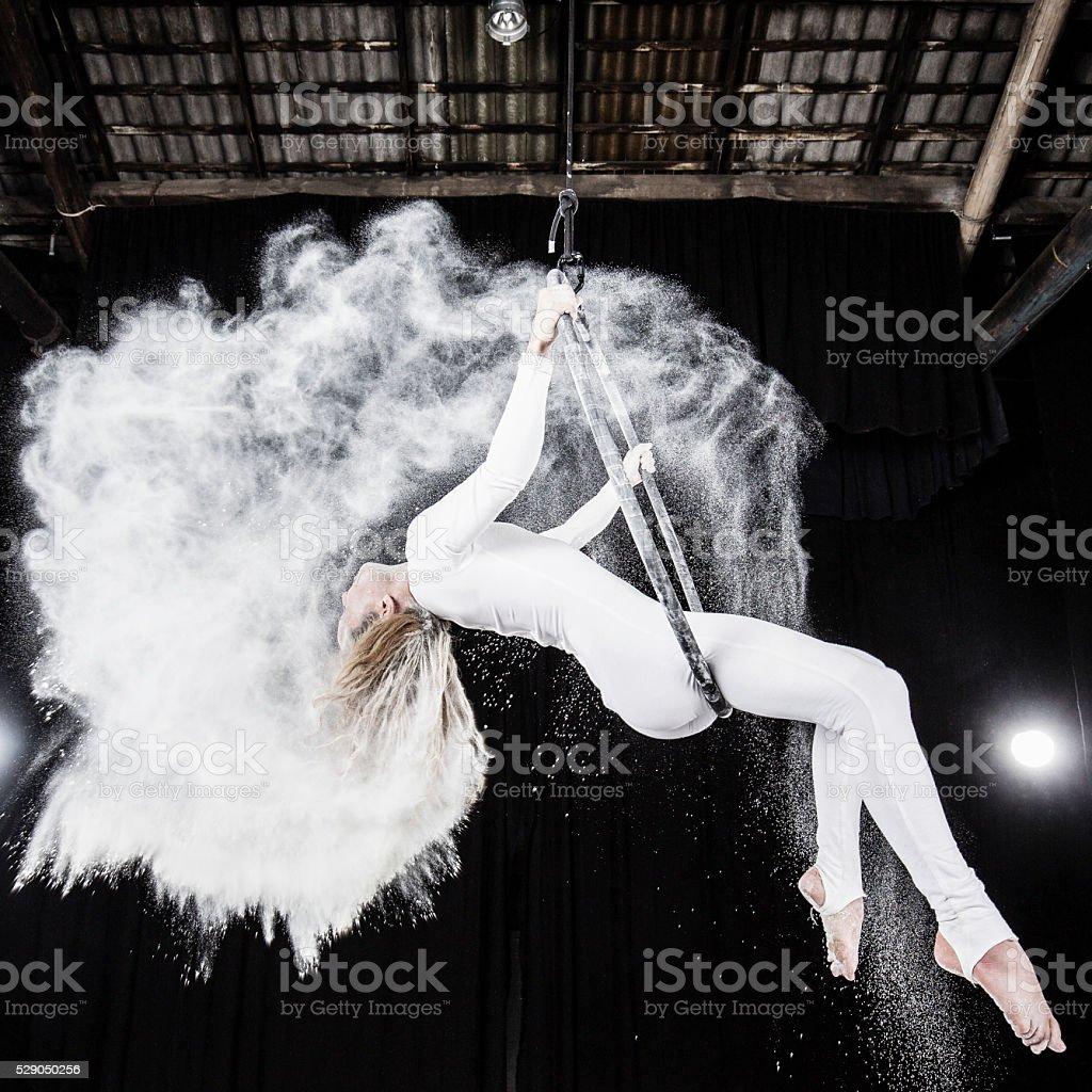 Aerial dancer performance stock photo