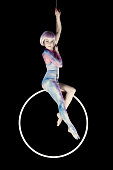 Aerial dancer performance with ring