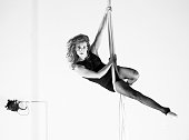 Aerial dancer performance with silks