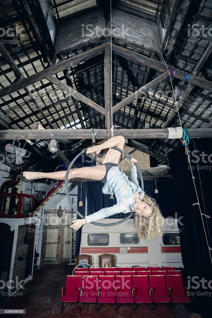 Aerial dancer stock photo