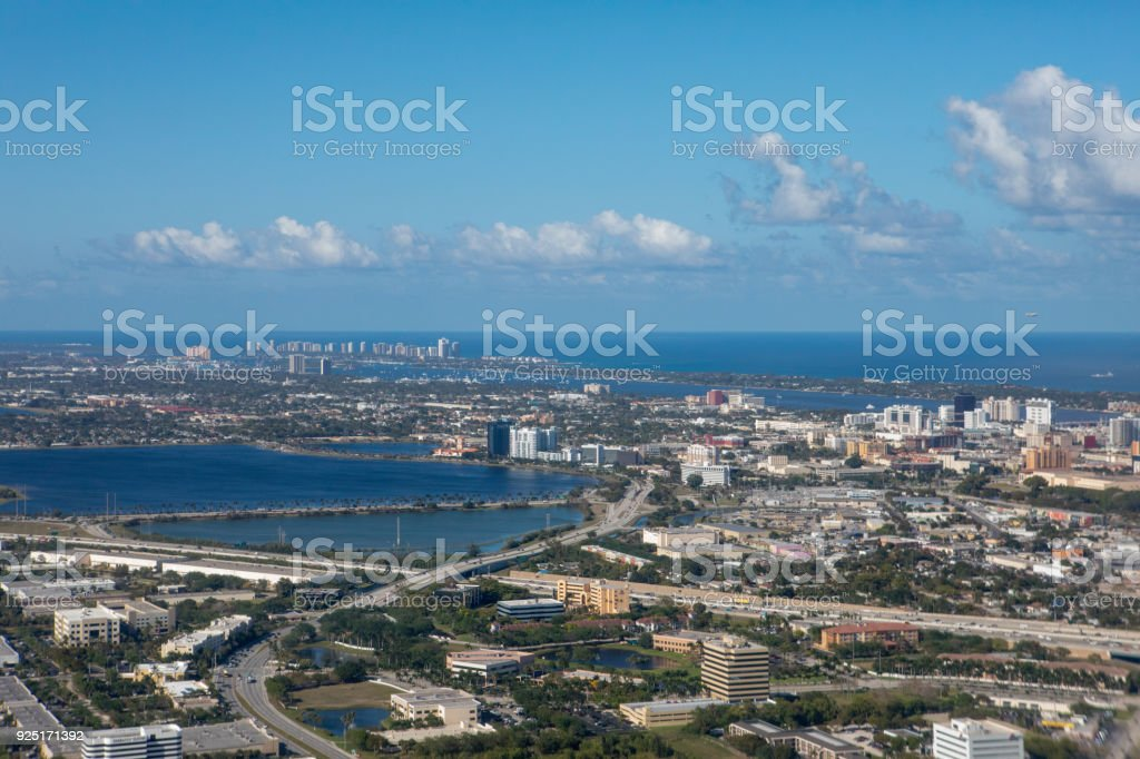 Aerial daytime view of West Palm Beach and Atlantic Ocean stock photo