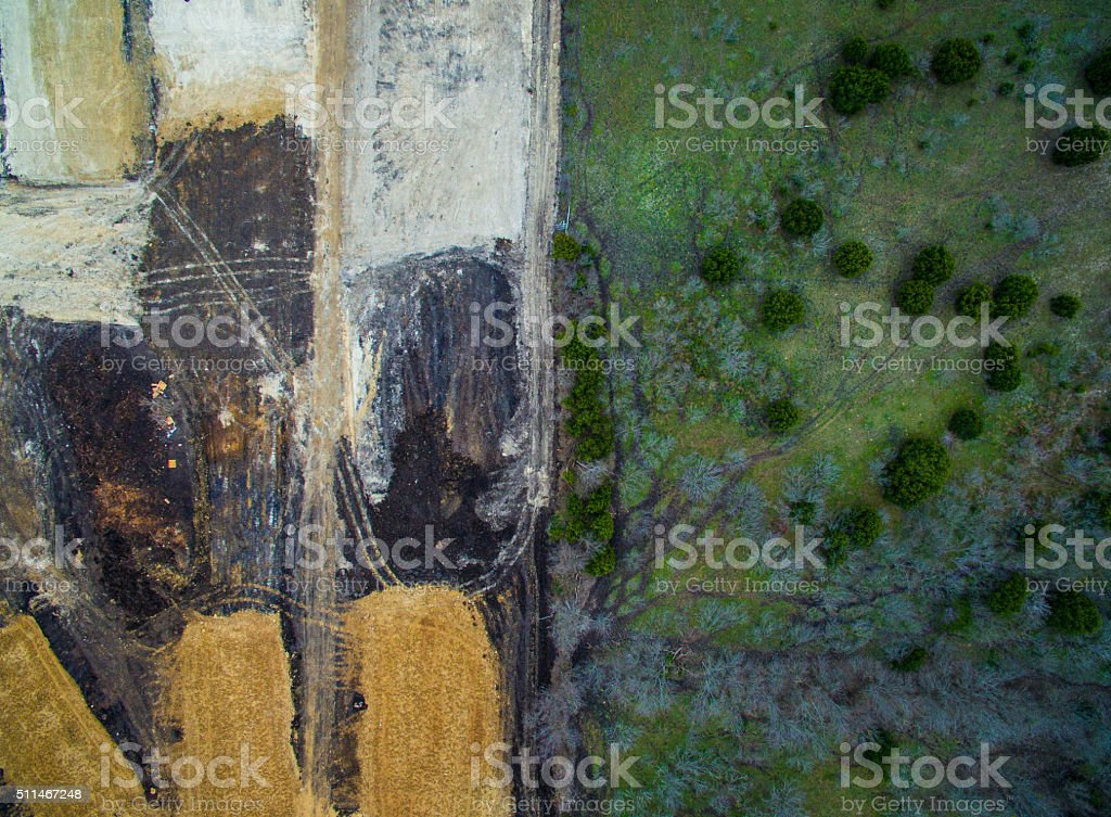 Aerial Deforestation and Natural Forest stock photo