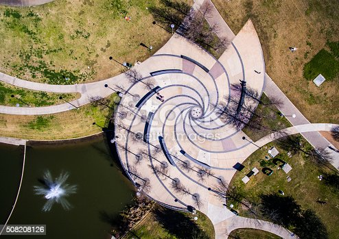 istock Aerial Directly down on Butler Park Fountains Circle Patterns 508208126