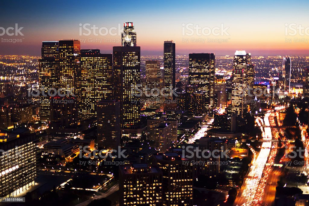 Aerial Downtown Los Angeles at Night royalty-free stock photo