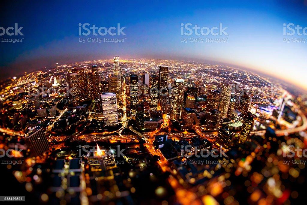 Fotografía de Vista Aérea De La Ciudad De Los Ángeles En La Noche y ...