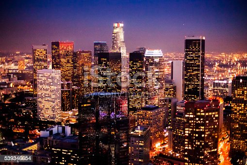 istock Aerial Downtown Los Angeles at Night 539346654