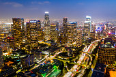 Aerial image of downtown Los Angeles, California at night
