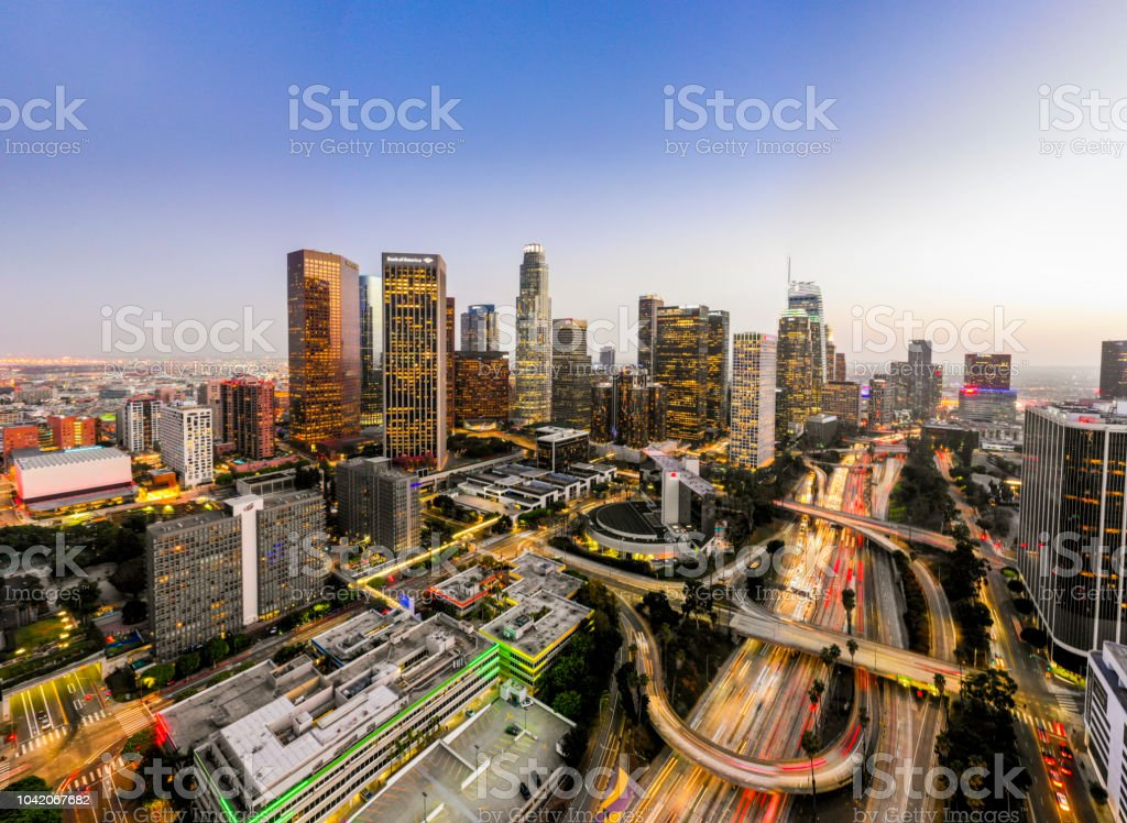 Aerial Downtown Los Angeles Skyline at Night stock photo