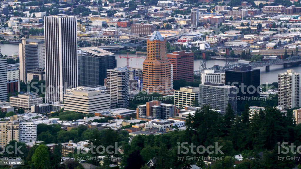 Aerial downtown Portland and larger city area stock photo