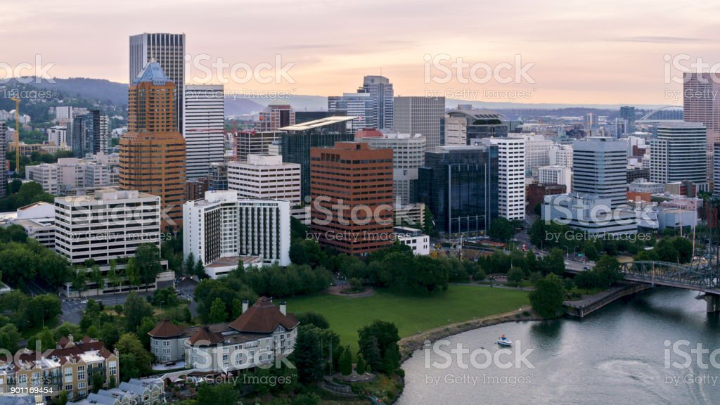 Aerial downtown Portland from waterfront stock photo