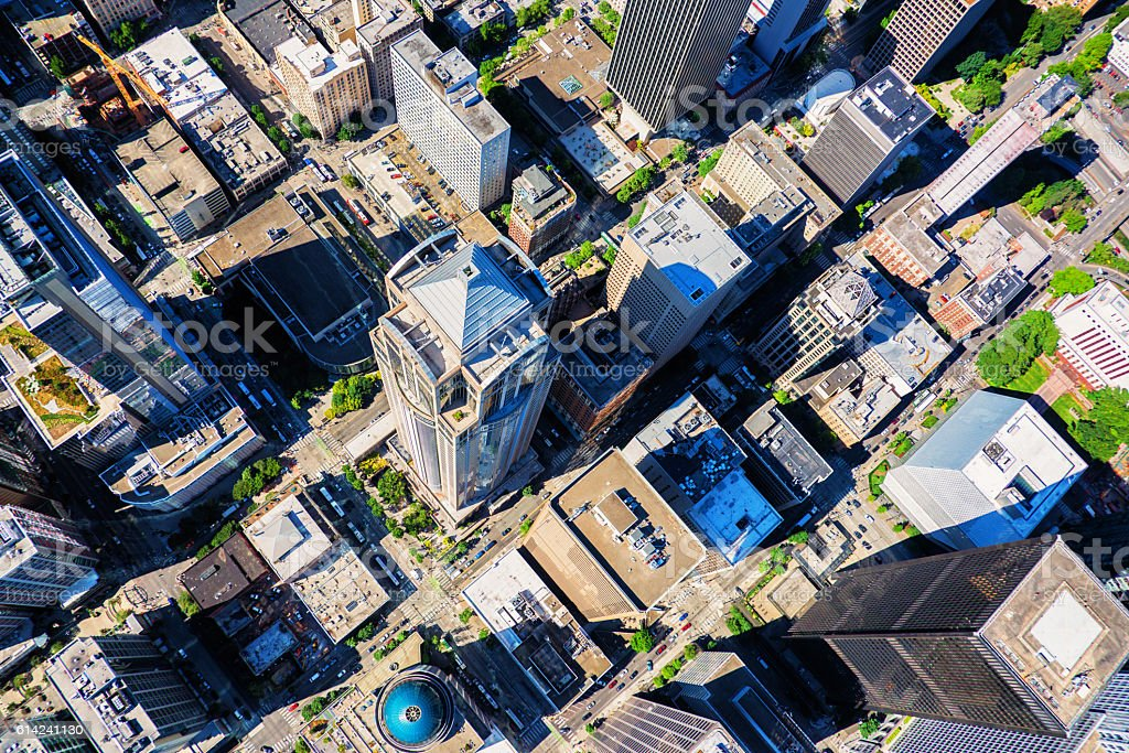 Aerial Downtown Seattle stock photo