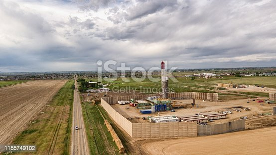 Aerial Drone Clip of a Fracking Drill Rig On The Eastern Slope Of Colorado In Late Springtime