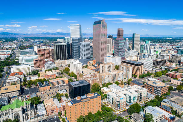 aerial drone denver colorado usa skyline cityscape mike high urban city august 2018 - skyline mountains usa stock photos and pictures