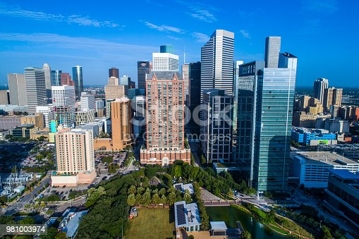 542727462 istock photo Aerial drone high above green space Houston Texas Skyline Cityscape 981003974